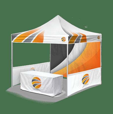шатер брендированный с двумя полу-стенками и скатерть с логотипом