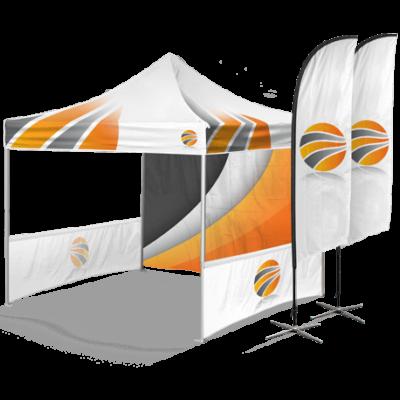 шатер брендированный с двумя полу-стенками и флаги с брендированием
