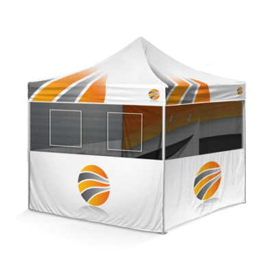 шатер брендированный, три стенки с окном и одна с дверью