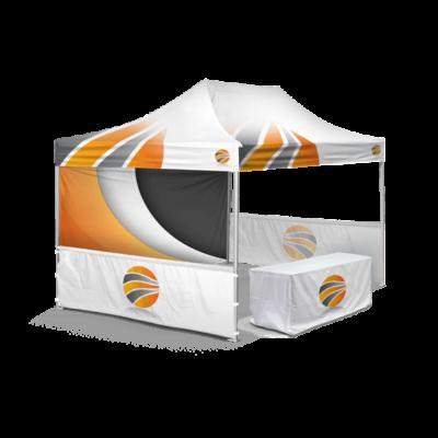 шатер брендированный 3х4,5, бренд стенка пол высоты и бренд скатерть