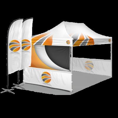 шатер брендированный 3х4,5, бренд стенка пол высоты и брендированные флаги