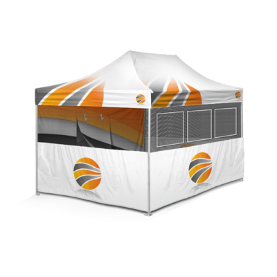 шатер брендированный 3х4,5, бренд стенка c окнами