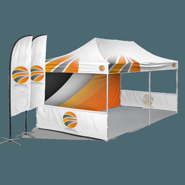 шатер 3х6 брендированный с двумя полу-стенками и флаги с брендированием