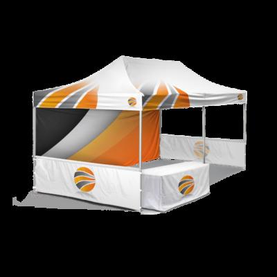 шатер 3х6 брендированный с двумя полу-стенками и скатерть с логотипом
